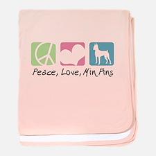 Peace, Love, Min Pins baby blanket