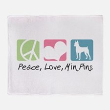 Peace, Love, Min Pins Throw Blanket