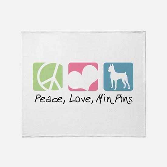 Peace, Love, Min Pins Throw Blanket