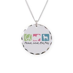 Peace, Love, Min Pins Necklace Circle Charm