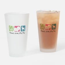 Peace, Love, Min Pins Drinking Glass