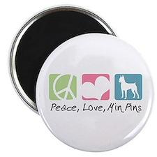 Peace, Love, Min Pins Magnet