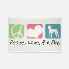 Peace, Love, Min Pins Rectangle Magnet (10 pack)