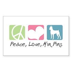 Peace, Love, Min Pins Sticker (Rectangle 50 pk)