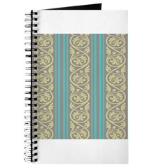 teal and taupe striped damask pattern Journal