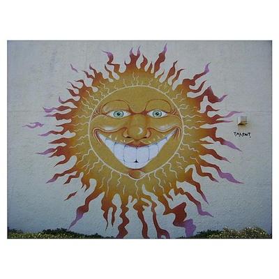 Crazy Sun Smiley Face Poster