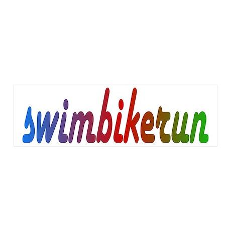 TRI Triathlon Swim Bike Run Rainbow 21x7 Wall Peel