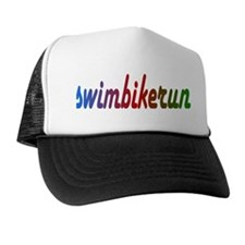 TRI Triathlon Swim Bike Run Rainbow Trucker Hat