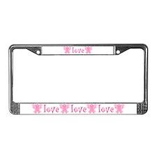 Pink Ribbon Love License Plate Frame