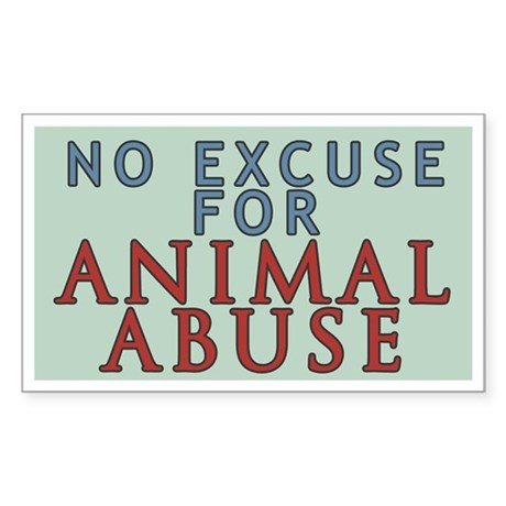 No Animal Abuse Sticker (Rectangle)