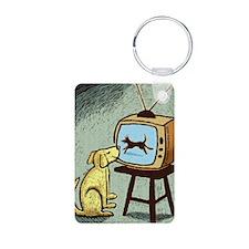 Dog Watching TV Keychains