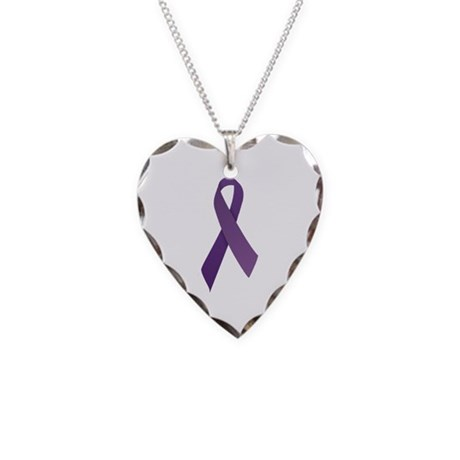 Purple Ribbons Necklace Heart Charm