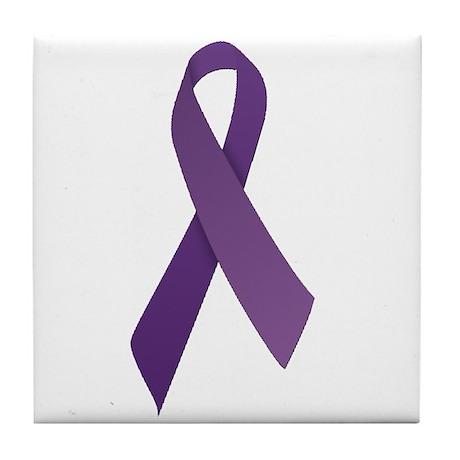 Purple Ribbons Tile Coaster