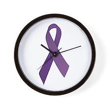 Purple Ribbons Wall Clock