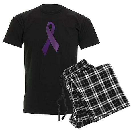 Purple Ribbons Men's Dark Pajamas