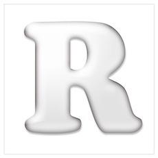 White Letter R Poster