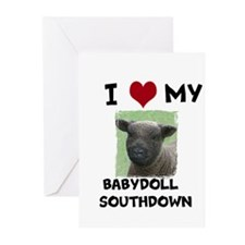I Love my Babydoll Southdowns Greeting Cards (Pk o