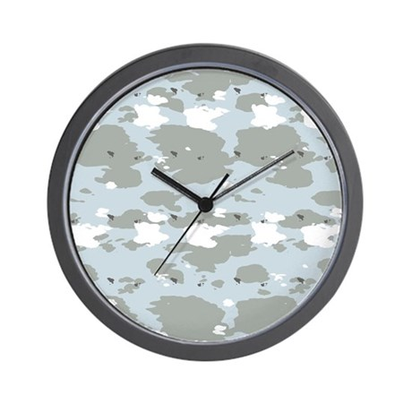 Light Blue Camouflage Wall Clock