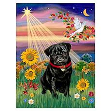 Autumn Angel / Pug (blk) Poster