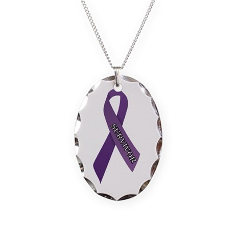 Purple Ribbon 'Survivor' Necklace Oval Charm