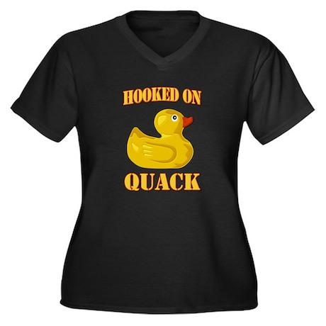 Hooked on Quack Women's Plus Size V-Neck Dark T-Sh