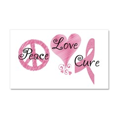 Peace Love Cure (Pink Ribbon) Car Magnet 20 x 12