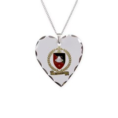 BABINEAUX Family Crest Necklace Heart Charm
