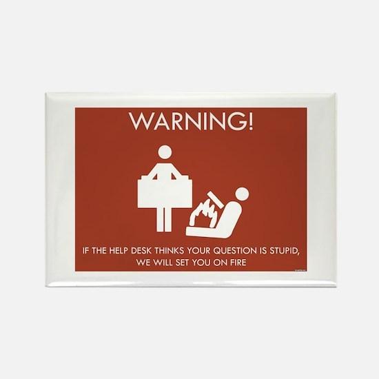 Warning Help Desk Rectangle Magnet