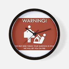Warning Help Desk Wall Clock
