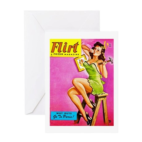 Flirt Pin Up Girl with Hammer Greeting Card