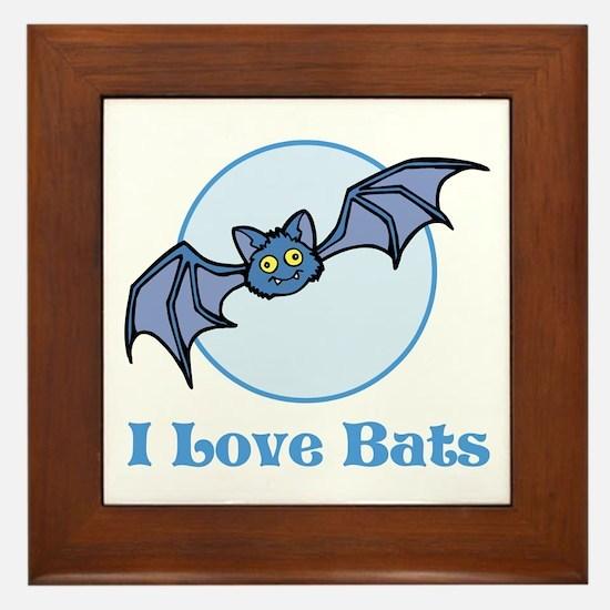 I Love Bats, Cartoon Framed Tile