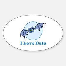 I Love Bats, Cartoon Sticker (Oval)