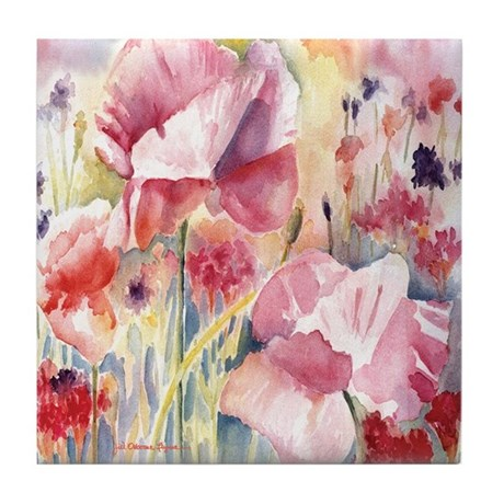 Pink Poppies Tile Coaster