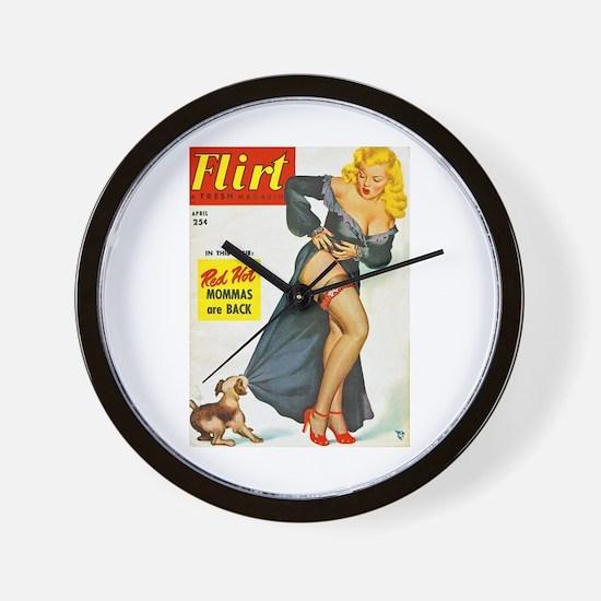 Flirt Pin Up Beauty Girl with Dog Wall Clock