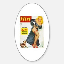 Flirt Pin Up Beauty Girl with Dog Sticker (Oval)