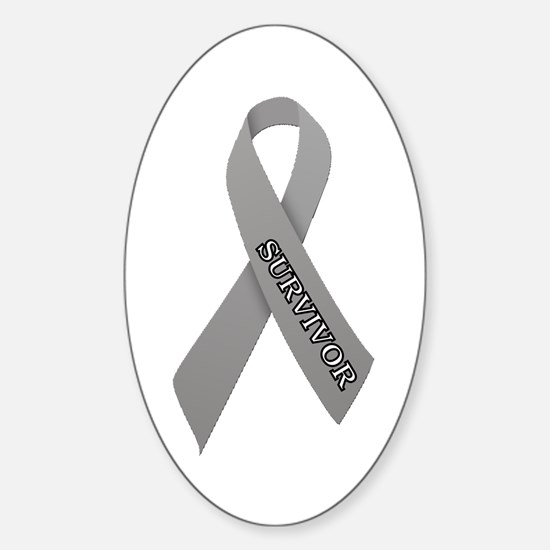 Gray Ribbon 'Survivor' Sticker (Oval)