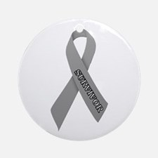 Gray Ribbon 'Survivor' Ornament (Round)