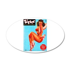 Titter Hot Cowgirl Pin Up Beauty 38.5 x 24.5 Oval
