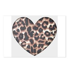 Leopard Print Heart Postcards (Package of 8)