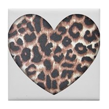 Leopard Print Heart Tile Coaster