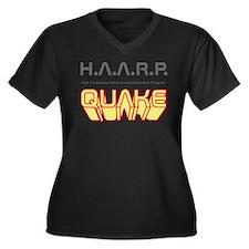 Cute Haarp Women's Plus Size V-Neck Dark T-Shirt