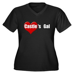 Castle's Gal Women's Plus Size V-Neck Dark T-Shirt