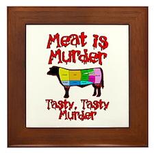 Meat is Murder. Tasty, Tasty Murder. Framed Tile