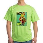 Flirt Vintage Pin Up Girl Warming Up Green T-Shirt