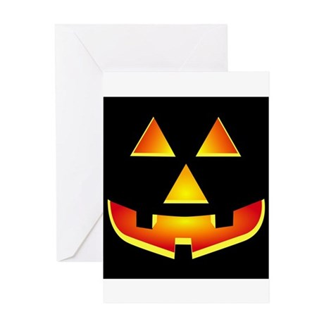 Jack 'O Lantern Pumpkin Glowing Face Greeting Card
