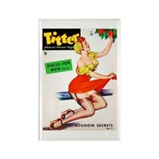 Titter Vintage Pin Up Girl in Red Rectangle Magnet