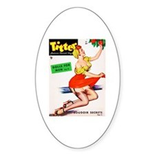 Titter Vintage Pin Up Girl in Red Decal