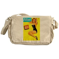 Flirt Vintage Pin Up Girl in Black Messenger Bag