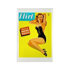 Flirt Vintage Pin Up Girl in Black Rectangle Magne