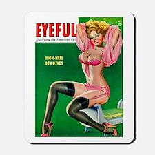 Eyeful Vintage Pin Up Girl in Pink Mousepad